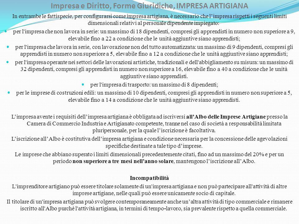 Impresa e Diritto, Forme Giuridiche, IMPRESA ARTIGIANA