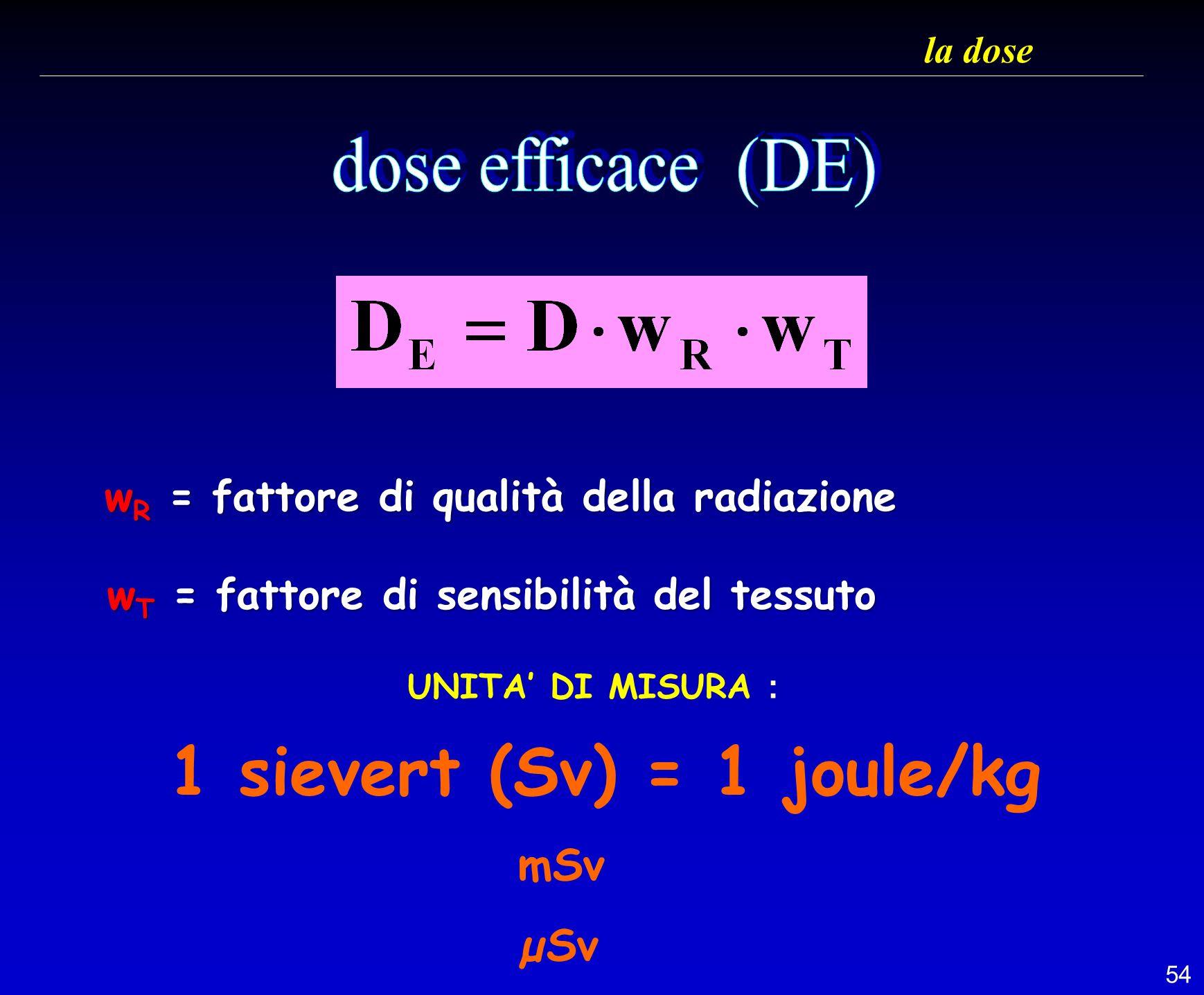 1 sievert (Sv) = 1 joule/kg