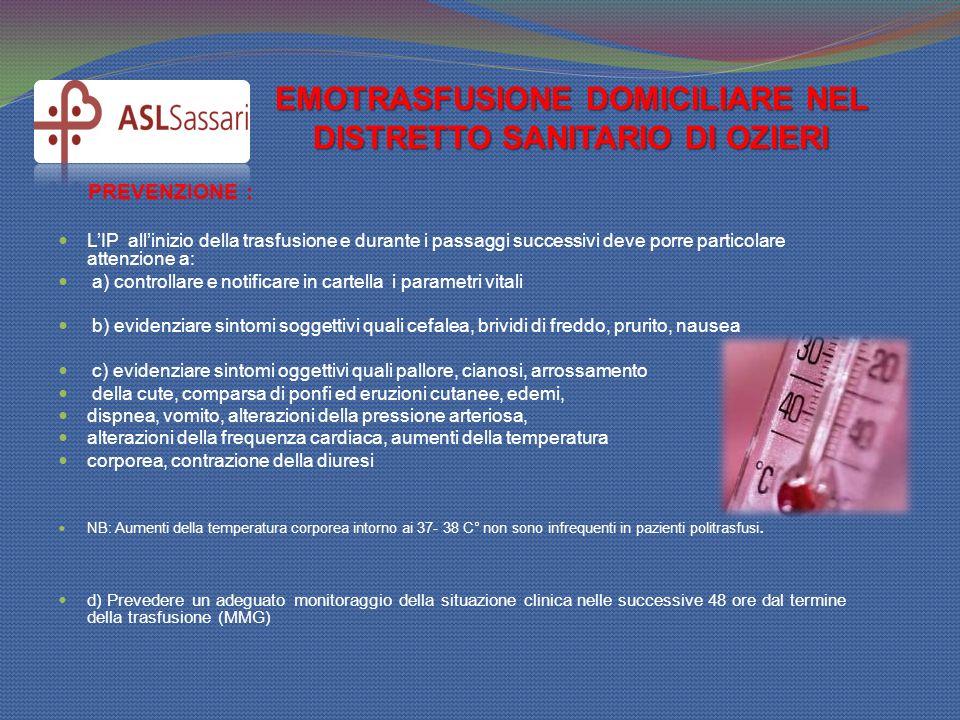 EMOTRASFUSIONE DOMICILIARE NEL DISTRETTO SANITARIO DI OZIERI