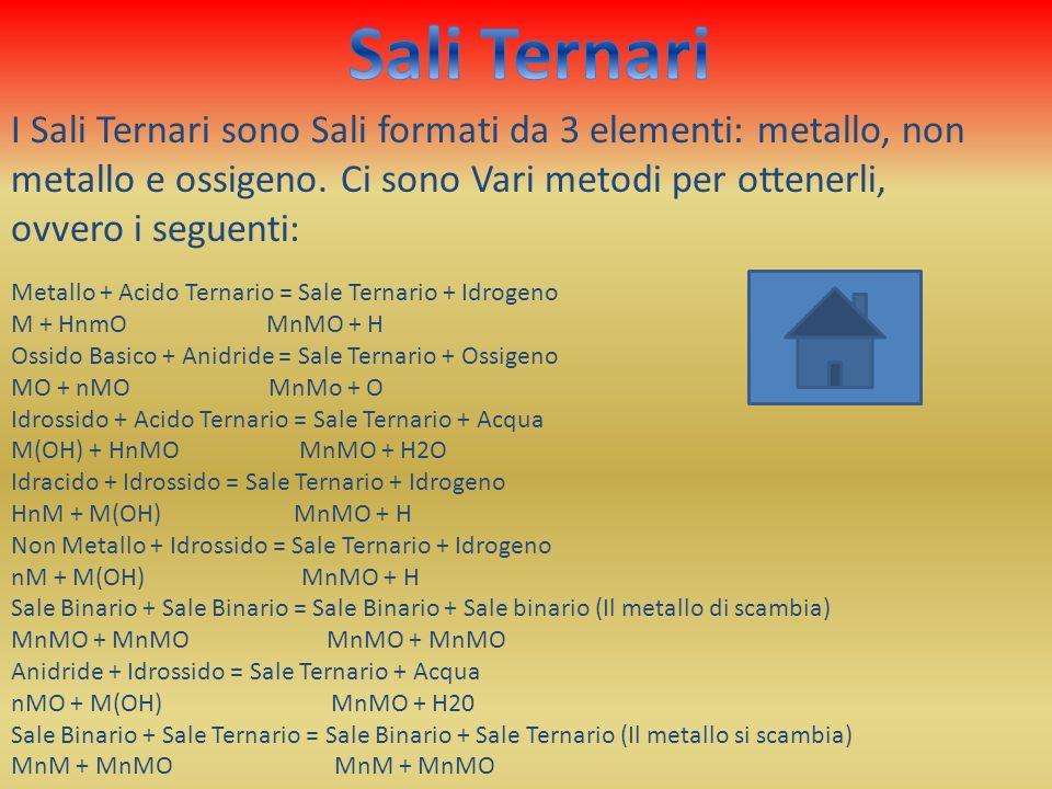 Sali Ternari I Sali Ternari sono Sali formati da 3 elementi: metallo, non metallo e ossigeno. Ci sono Vari metodi per ottenerli, ovvero i seguenti: