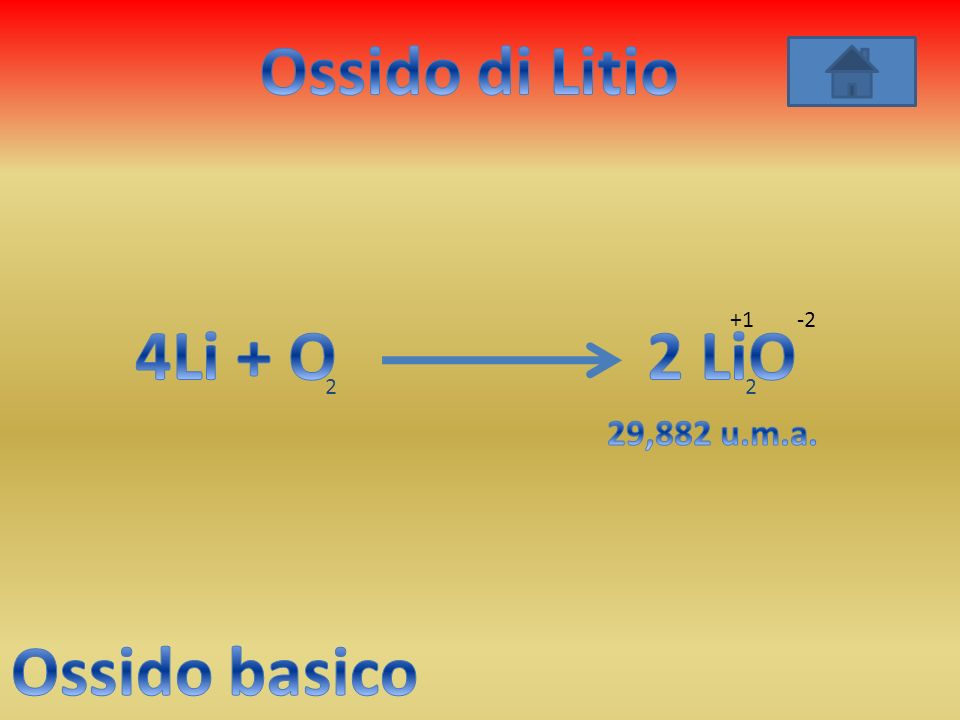Ossido di Litio 4Li + O 2 LiO Ossido basico