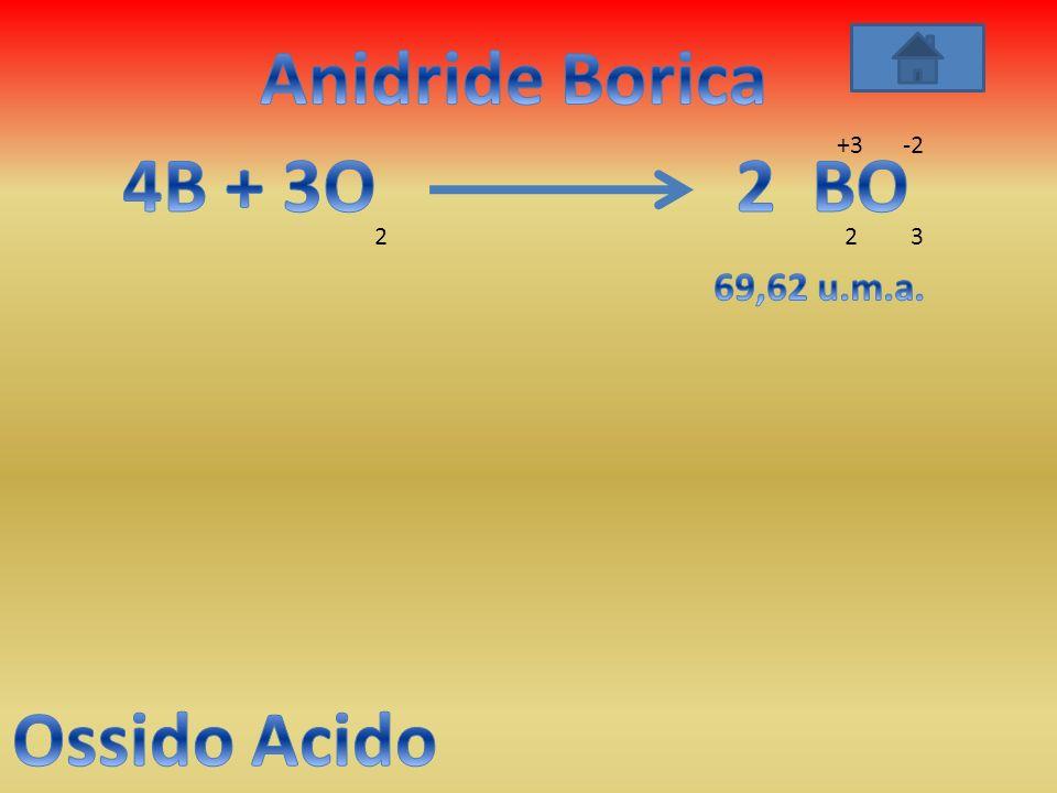 Anidride Borica 4B + 3O 2 BO Ossido Acido