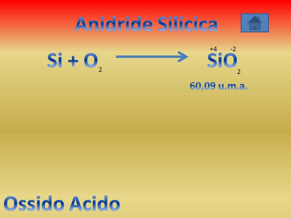 Anidride Silicica Si + O SiO Ossido Acido