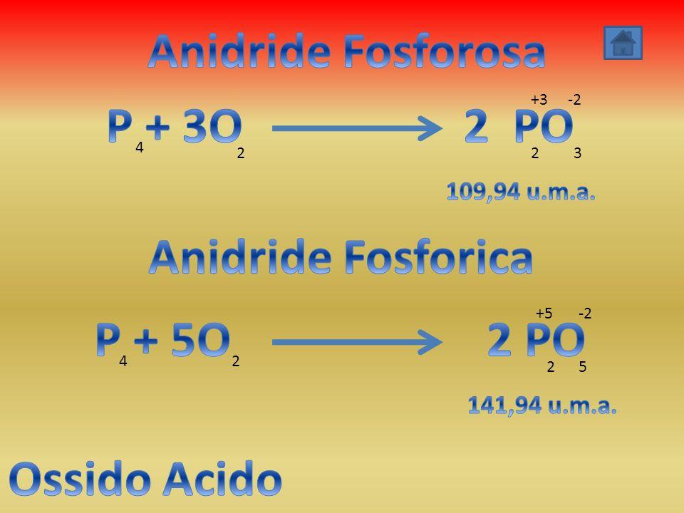 Anidride Fosforosa P + 3O 2 PO Anidride Fosforica P + 5O 2 PO