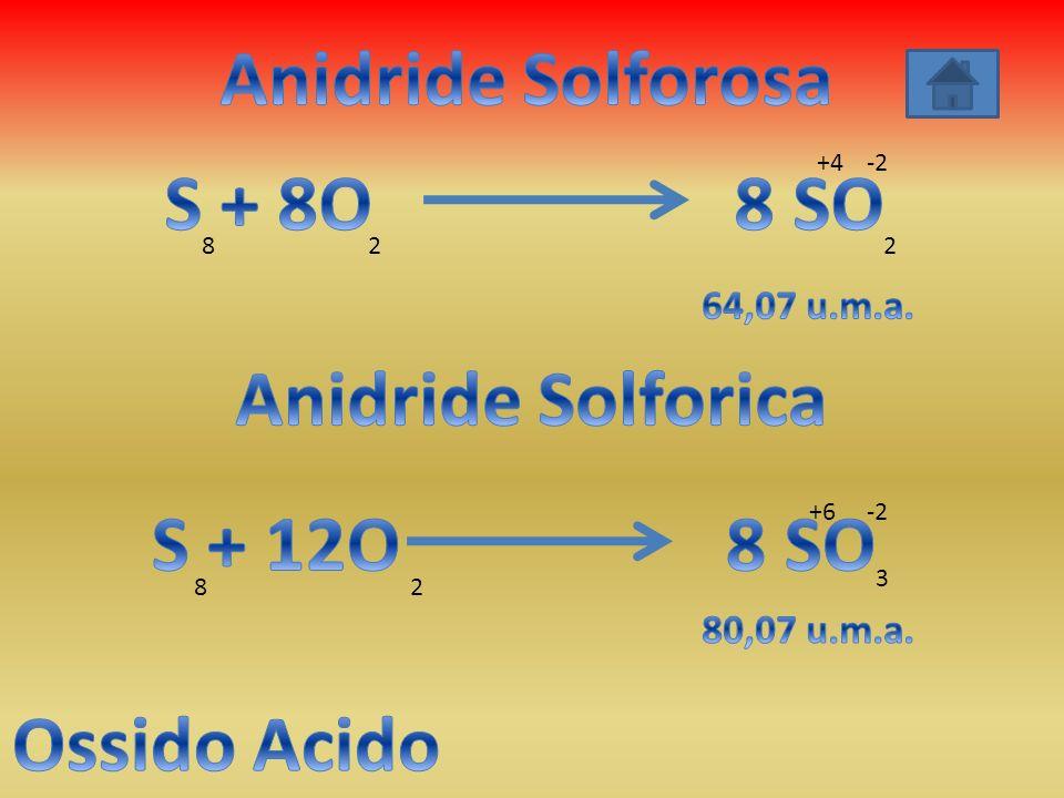 Anidride Solforosa S + 8O 8 SO Anidride Solforica S + 12O 8 SO