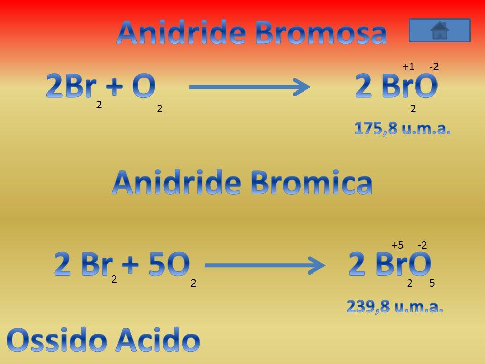 Anidride Bromosa 2Br + O 2 BrO Anidride Bromica 2 Br + 5O 2 BrO