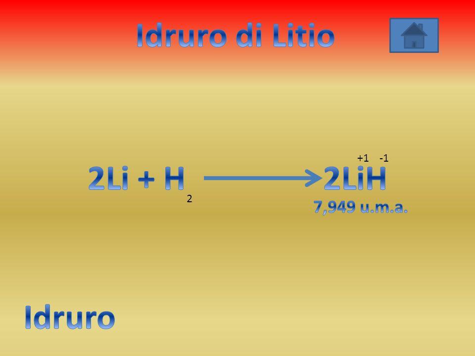 Idruro di Litio 2Li + H 2LiH Idruro