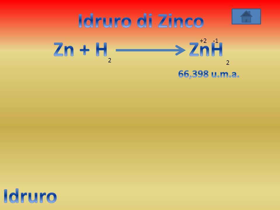 Idruro di Zinco Zn + H ZnH Idruro