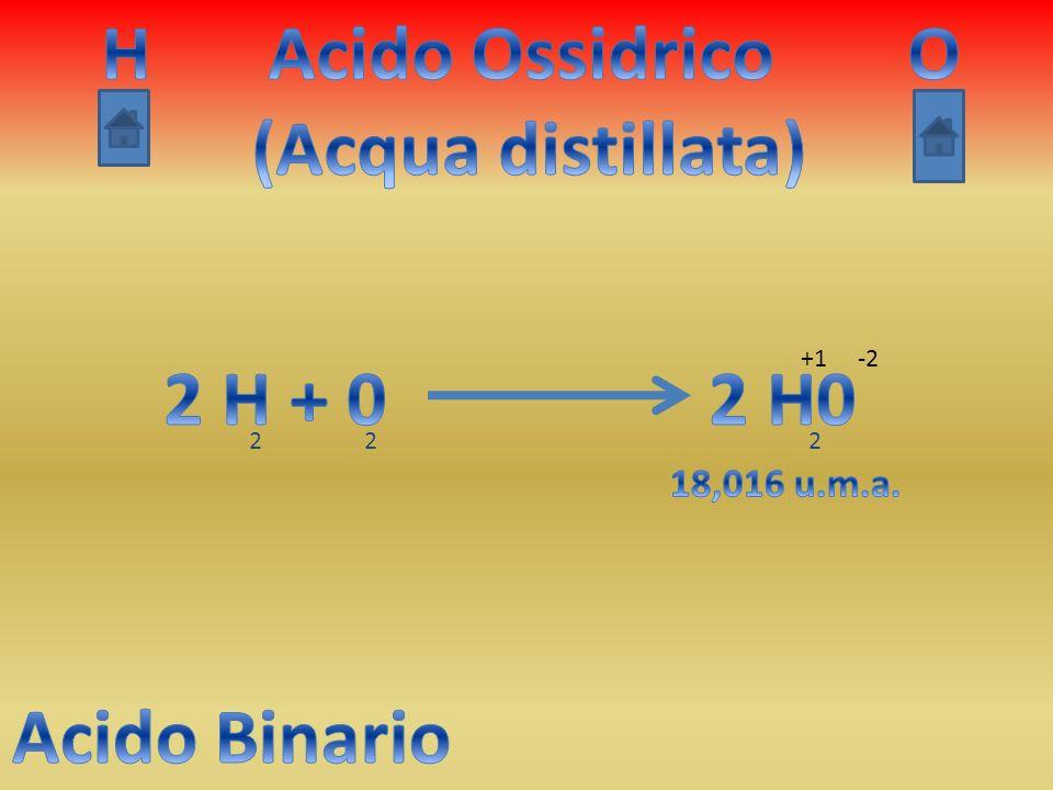 H Acido Ossidrico (Acqua distillata) O 2 H + 0 2 H0 Acido Binario