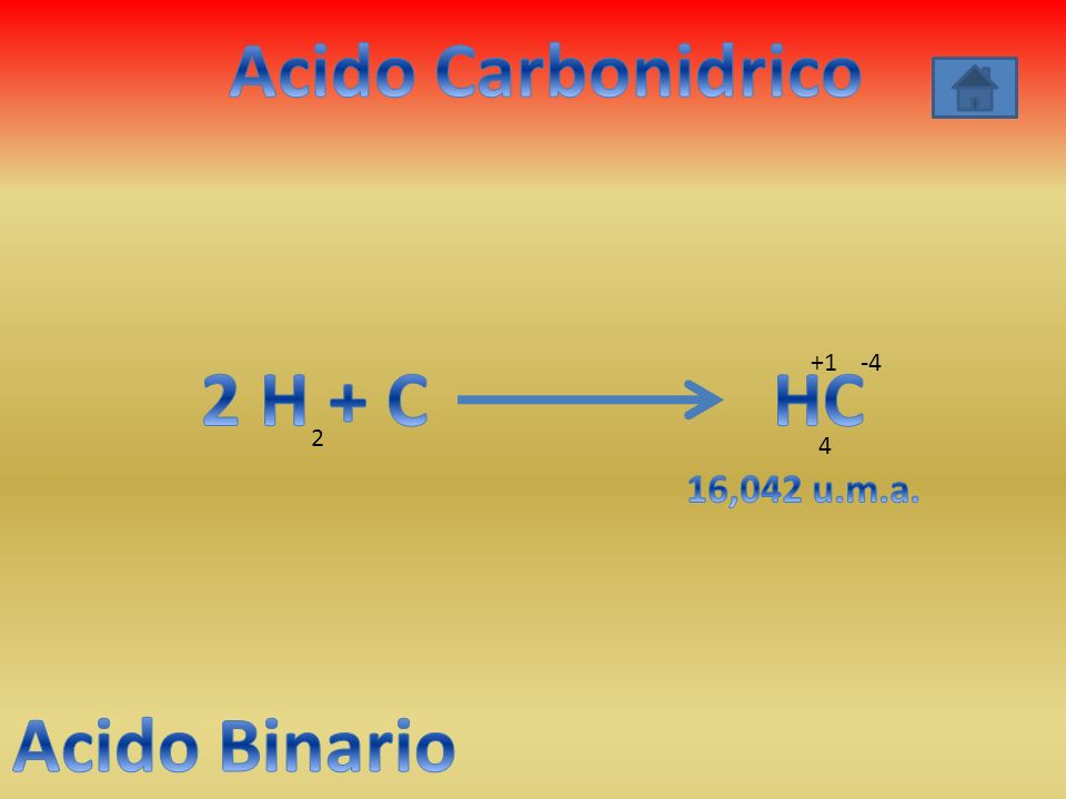 Acido Carbonidrico 2 H + C HC Acido Binario