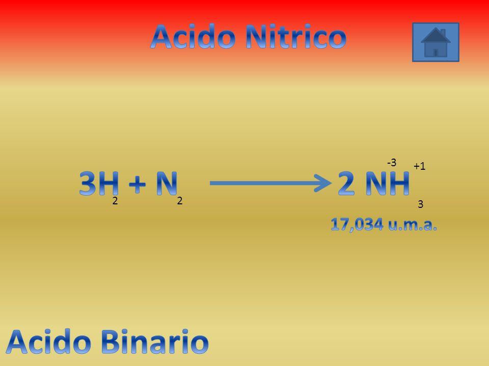 Acido Nitrico 3H + N 2 NH Acido Binario