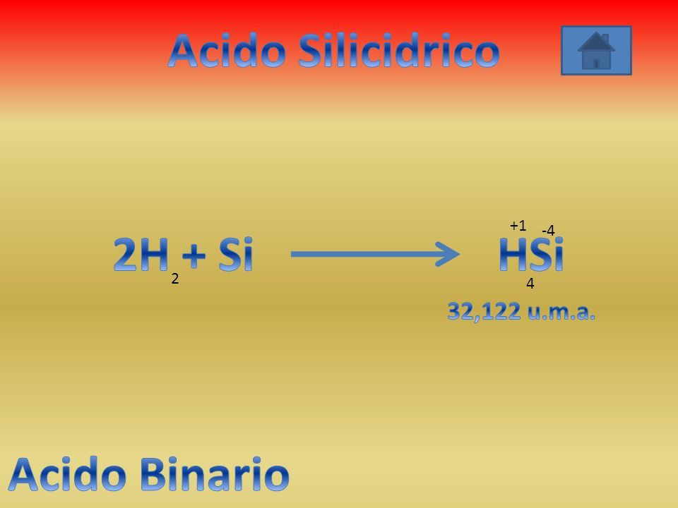 Acido Silicidrico 2H + Si HSi Acido Binario