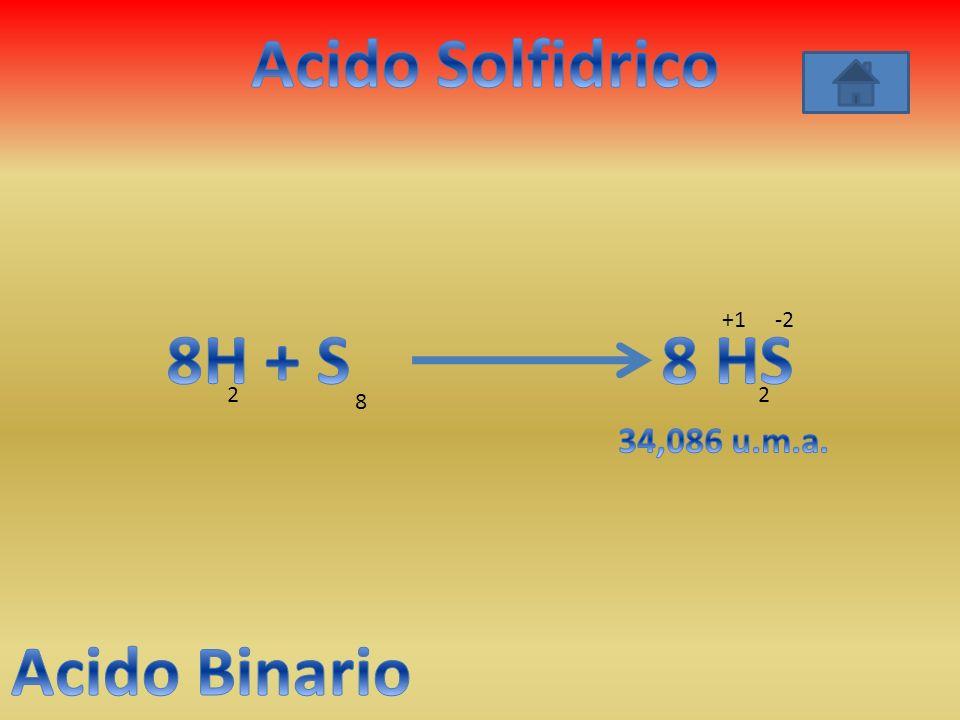 Acido Solfidrico 8H + S 8 HS Acido Binario