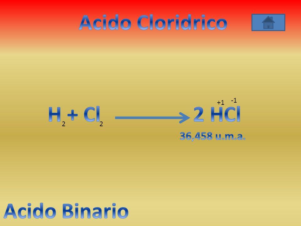Acido Cloridrico H + Cl 2 HCl Acido Binario