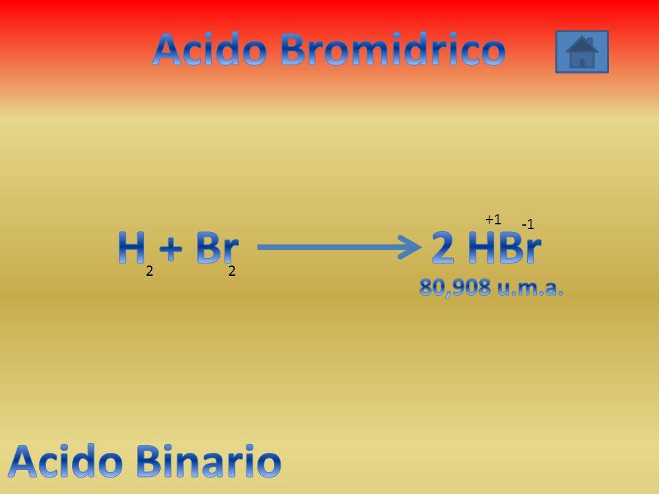 Acido Bromidrico H + Br 2 HBr Acido Binario