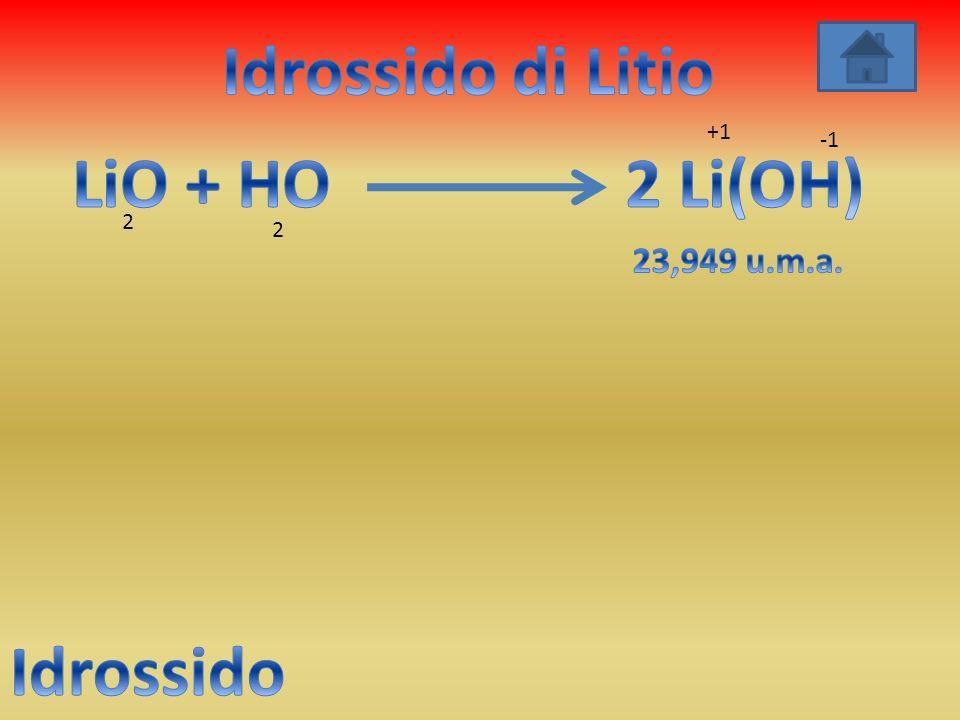 Idrossido di Litio LiO + HO 2 Li(OH) Idrossido