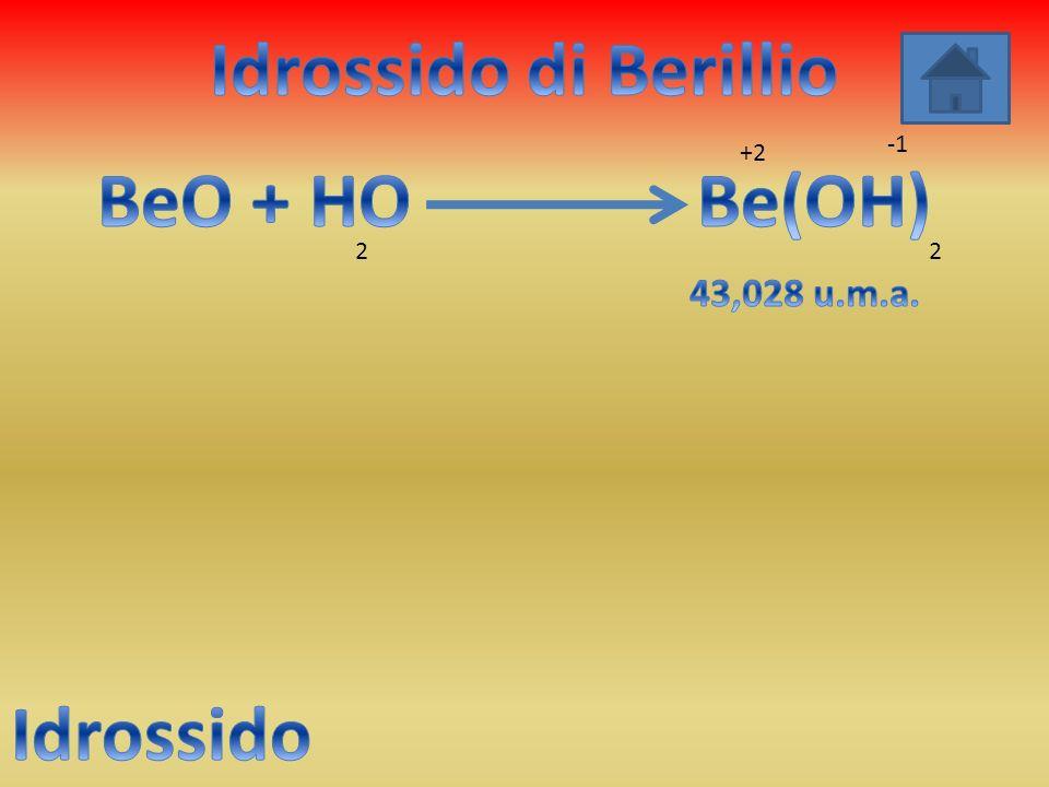 Idrossido di Berillio BeO + HO Be(OH) Idrossido