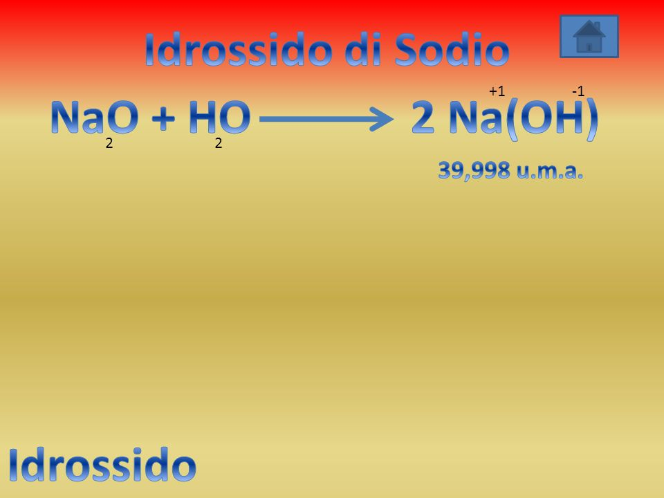 Idrossido di Sodio NaO + HO 2 Na(OH) Idrossido