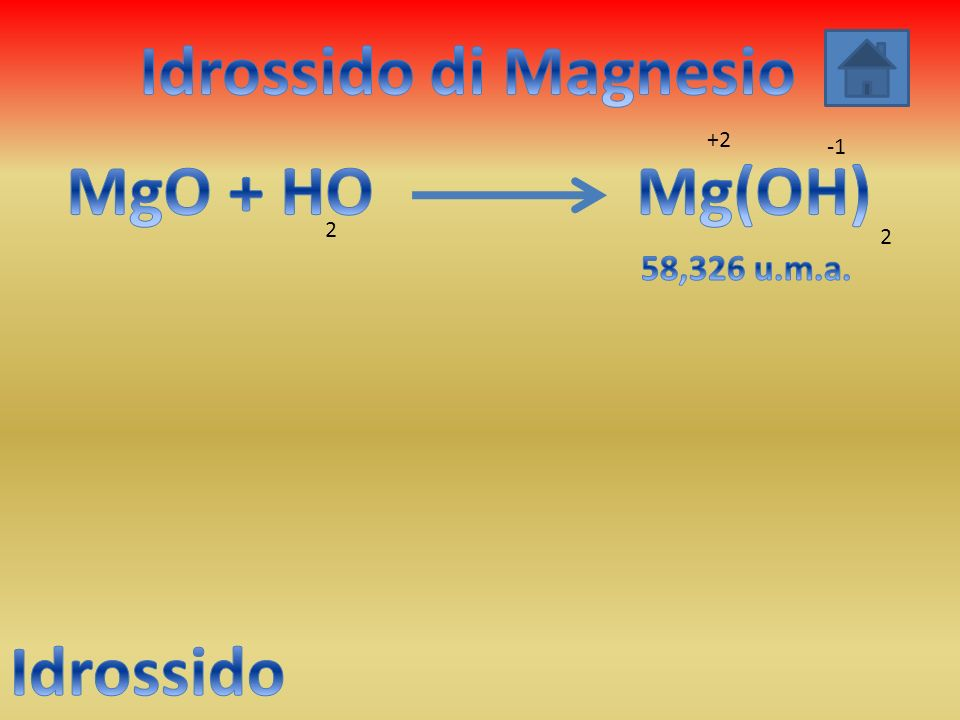 Idrossido di Magnesio MgO + HO Mg(OH) Idrossido