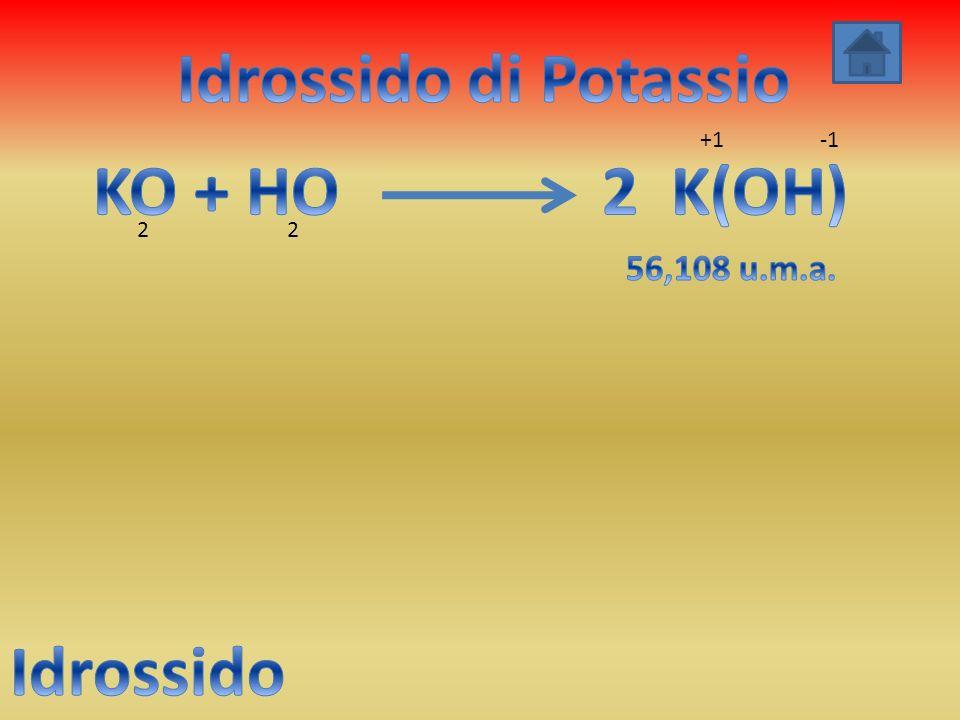 Idrossido di Potassio KO + HO 2 K(OH) Idrossido