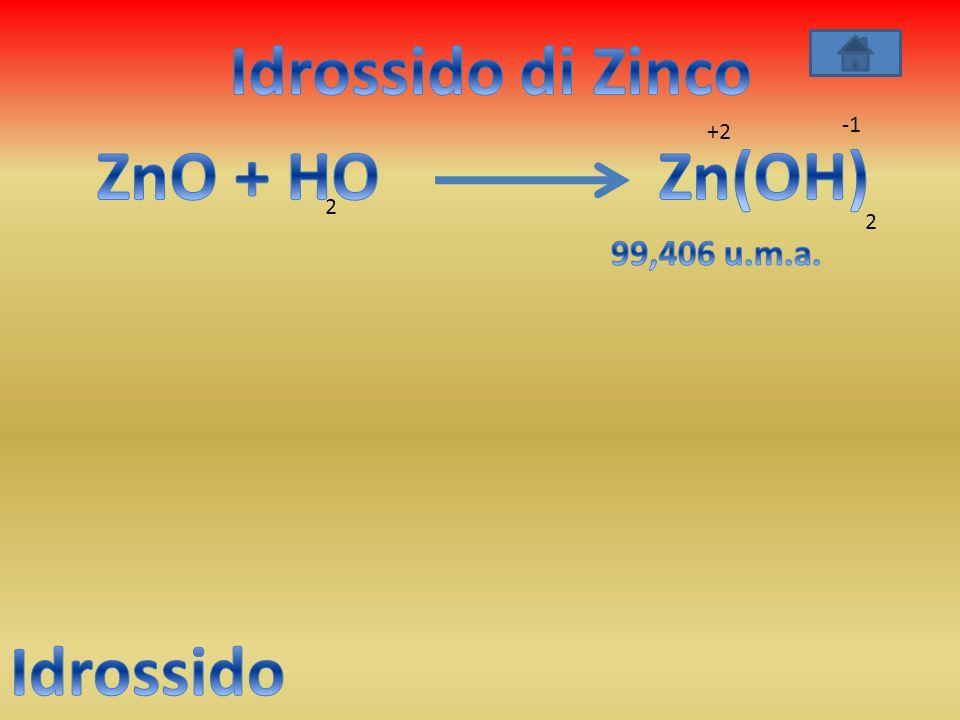 Idrossido di Zinco ZnO + HO Zn(OH) Idrossido