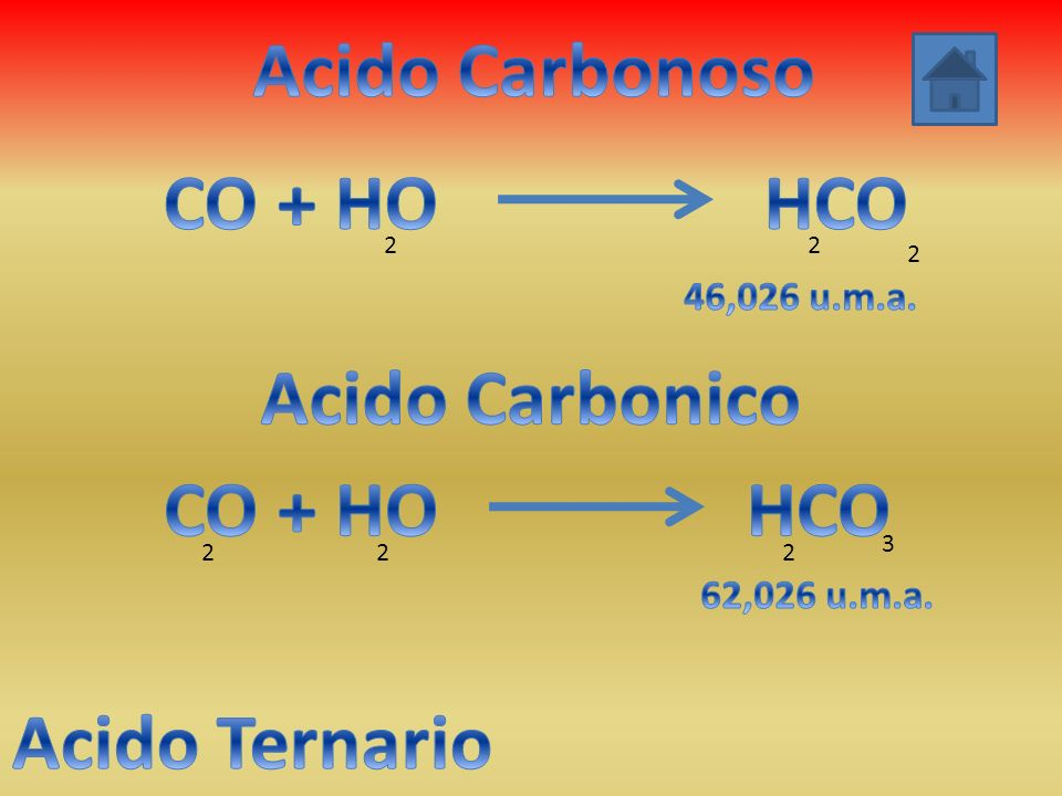 Acido Carbonoso CO + HO HCO Acido Carbonico CO + HO HCO Acido Ternario