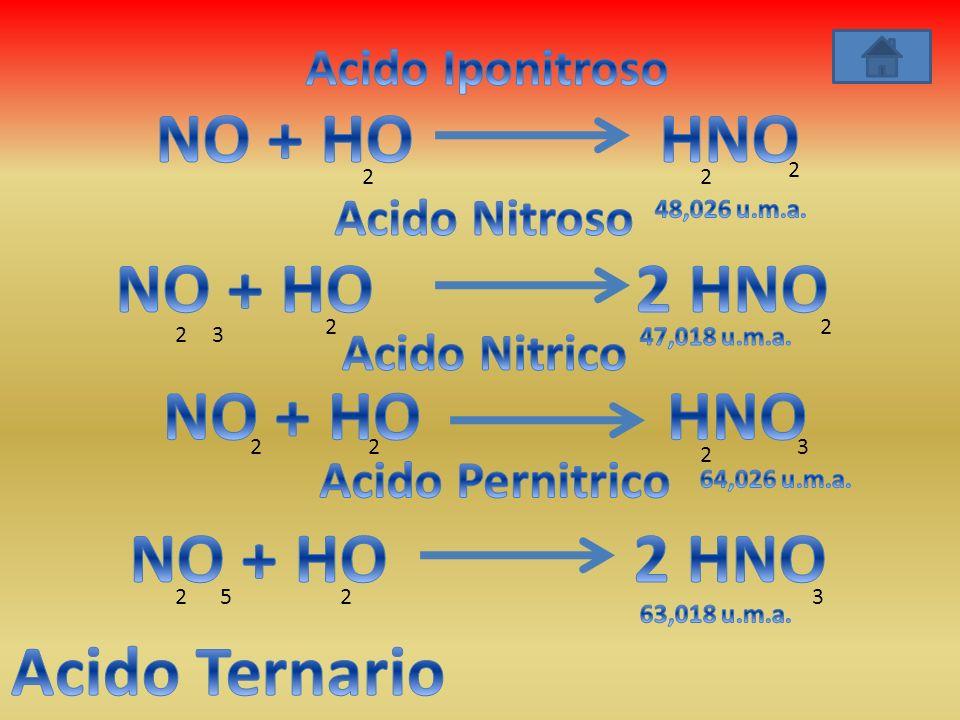 NO + HO HNO NO + HO 2 HNO NO + HO HNO NO + HO 2 HNO Acido Ternario