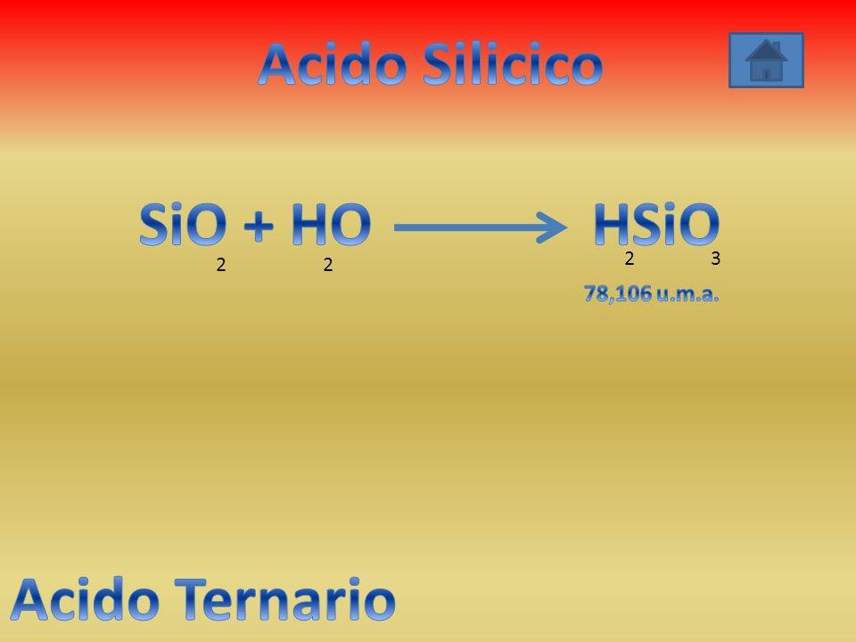 Acido Silicico SiO + HO HSiO Acido Ternario