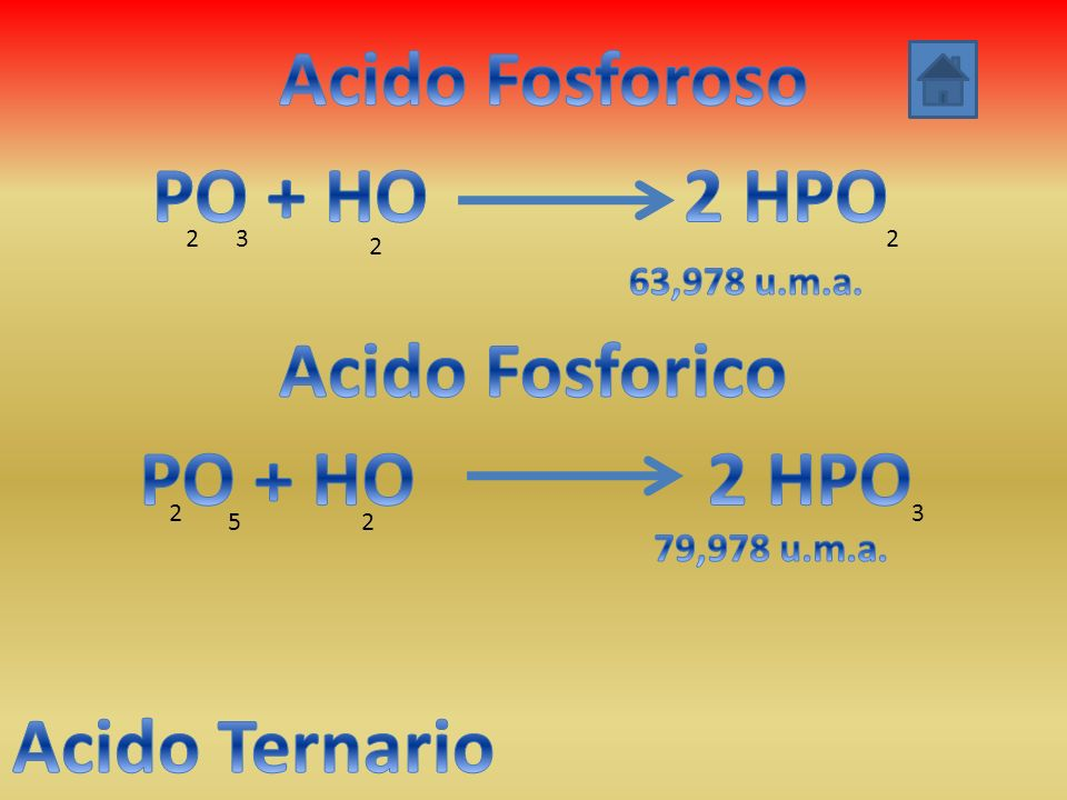 Acido Fosforoso PO + HO 2 HPO Acido Fosforico PO + HO 2 HPO