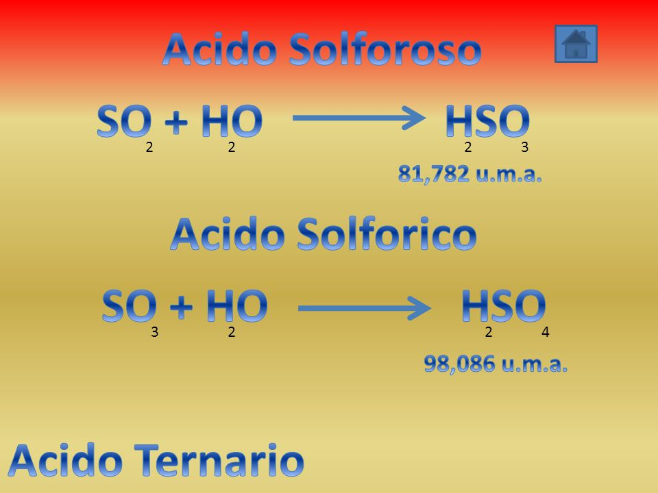 Acido Solforoso SO + HO HSO Acido Solforico SO + HO HSO Acido Ternario