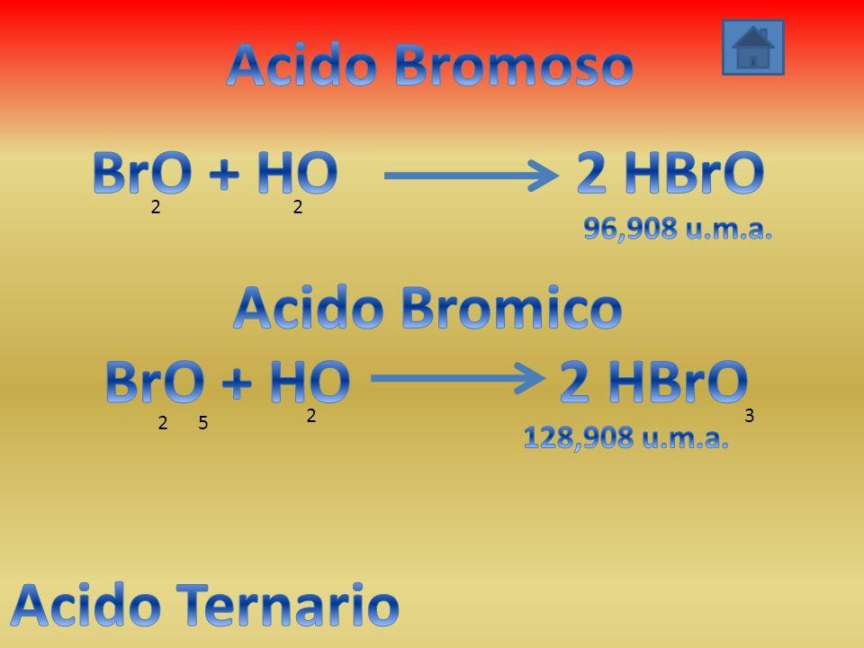 Acido Bromoso BrO + HO 2 HBrO Acido Bromico BrO + HO 2 HBrO