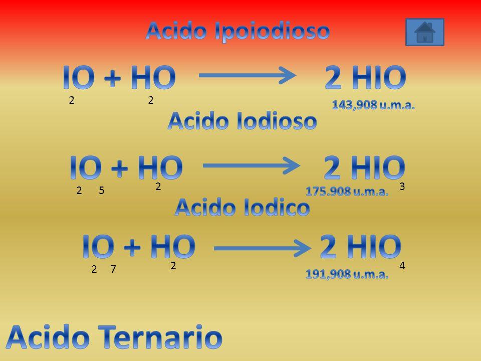 IO + HO 2 HIO IO + HO 2 HIO IO + HO 2 HIO Acido Ternario