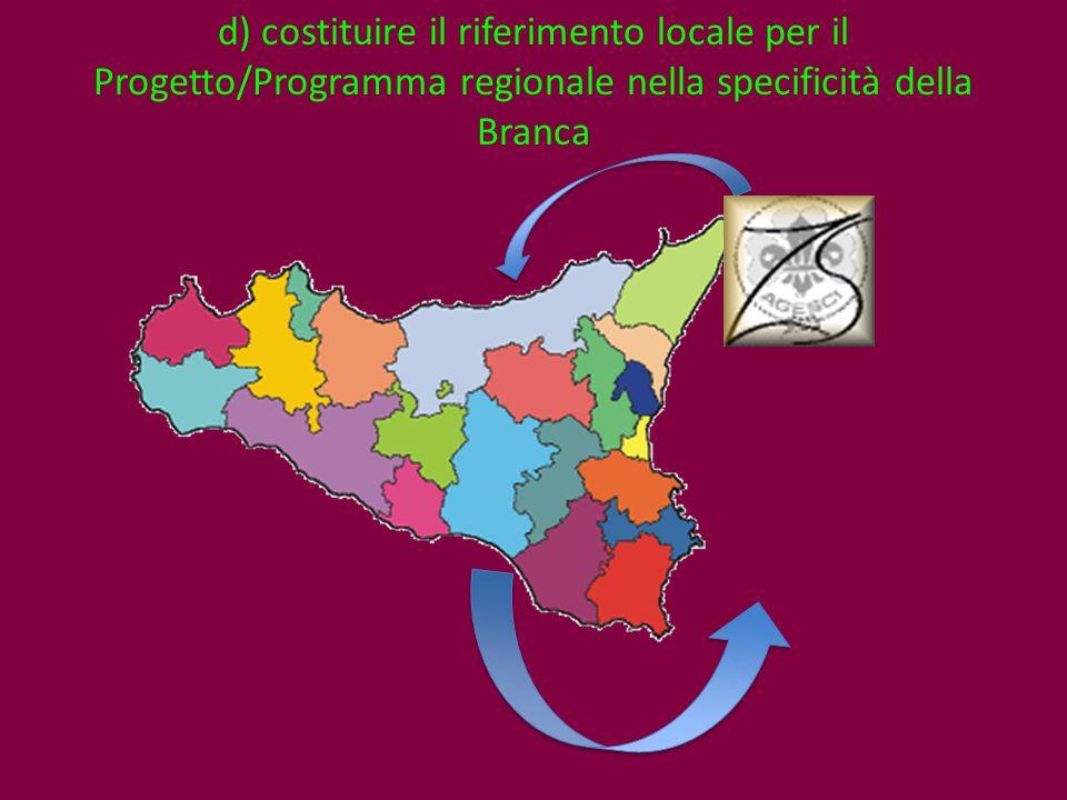 d) costituire il riferimento locale per il Progetto/Programma regionale nella specificità della Branca