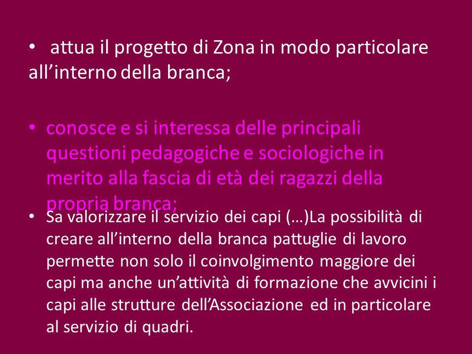 attua il progetto di Zona in modo particolare all'interno della branca;