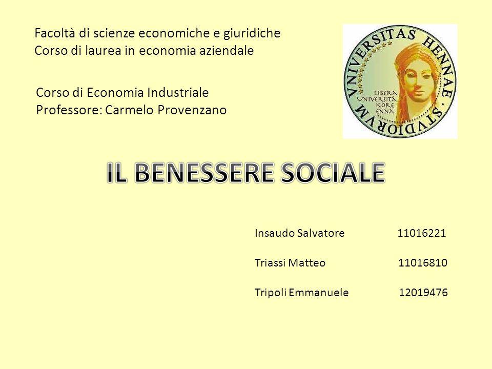 IL BENESSERE SOCIALE Facoltà di scienze economiche e giuridiche