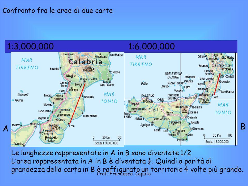 1:3.000.000 1:6.000.000 B A Confronto fra le aree di due carte