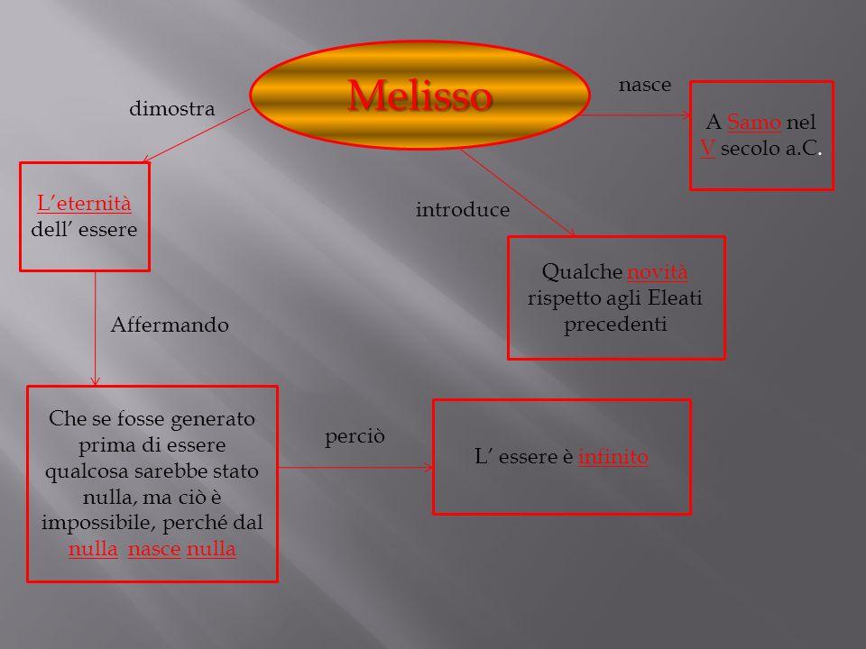 Melisso nasce dimostra A Samo nel V secolo a.C.