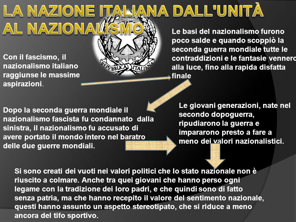 LA NAZIONE ITALIANA DALL UNITÀ AL NAZIONALISMO