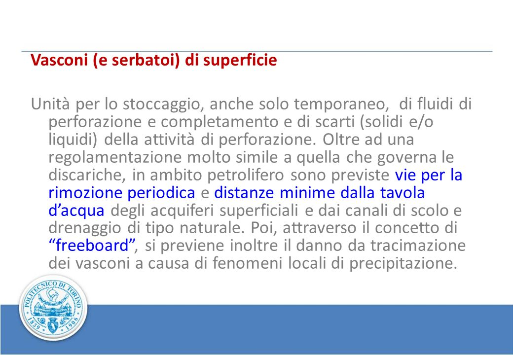 Vasconi (e serbatoi) di superficie