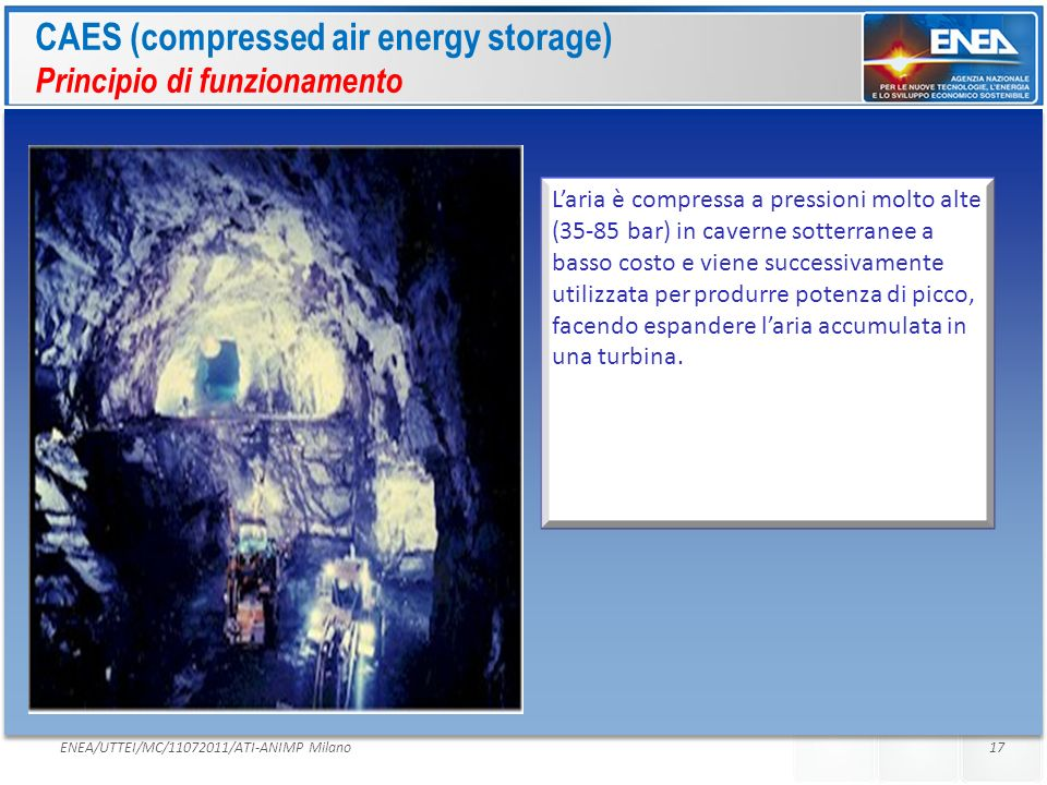 CAES (compressed air energy storage) Principio di funzionamento