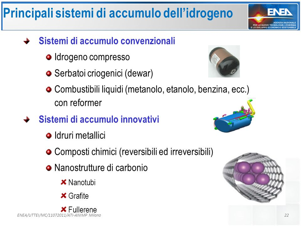 Principali sistemi di accumulo dell'idrogeno