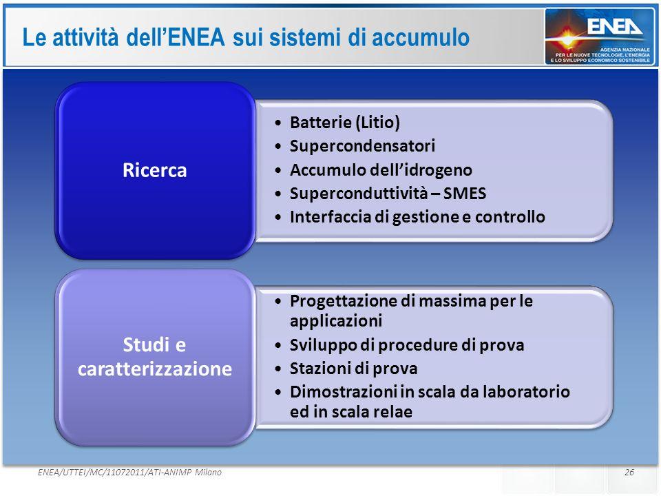 Le attività dell'ENEA sui sistemi di accumulo