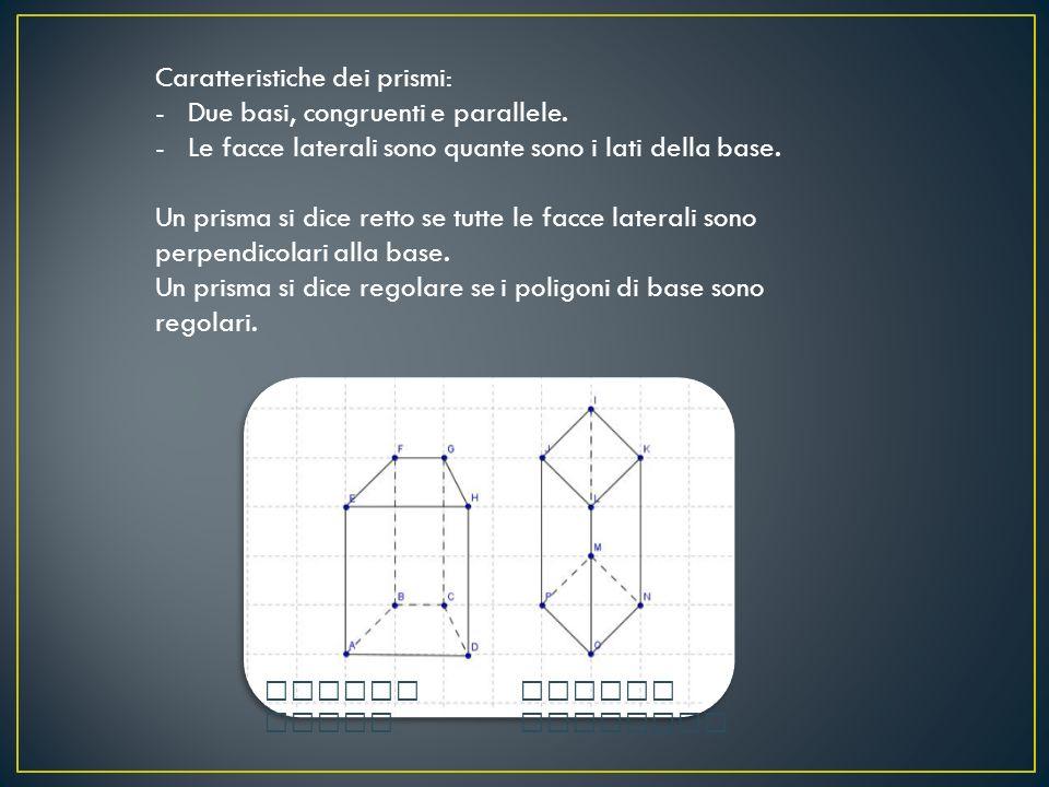 Caratteristiche dei prismi: Due basi, congruenti e parallele.