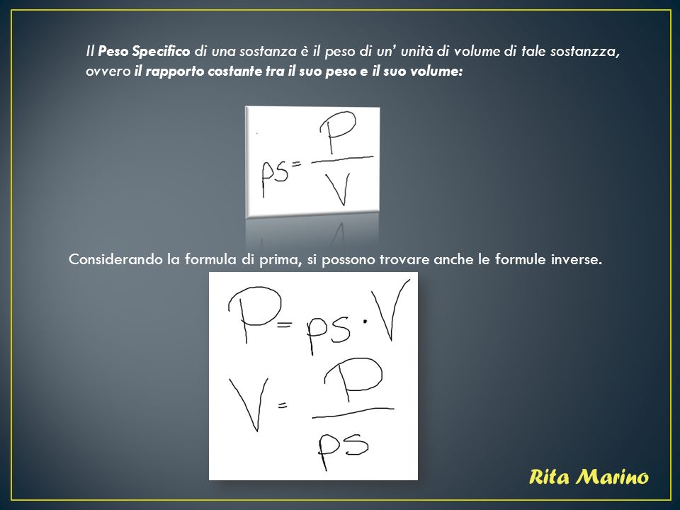 Prismi e peso specifico ppt scaricare for Suo e suo armadio