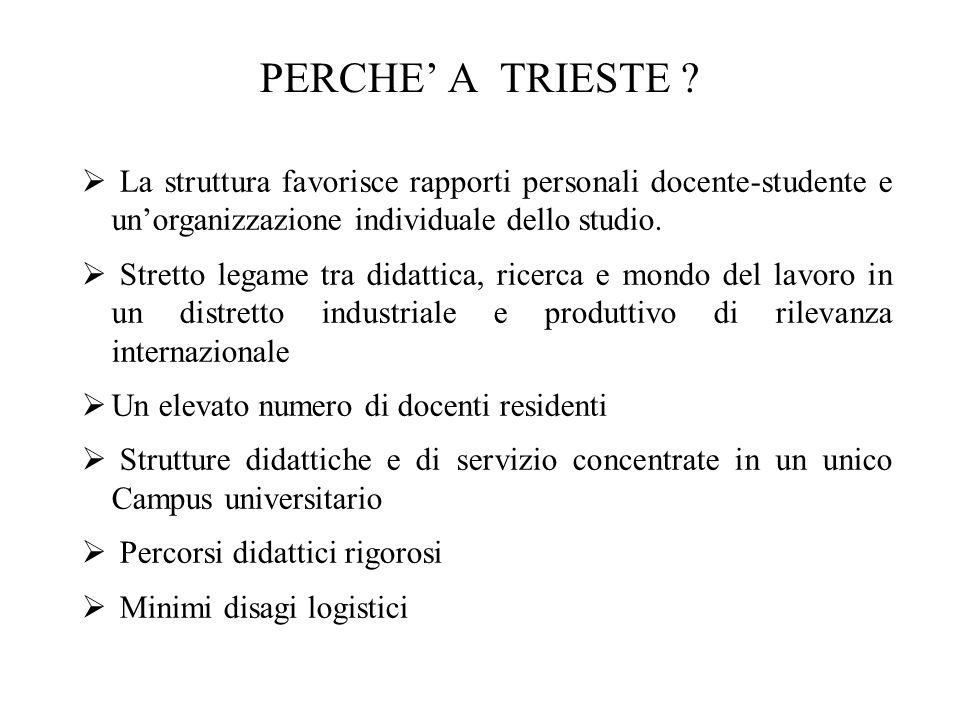 PERCHE' A TRIESTE La struttura favorisce rapporti personali docente-studente e un'organizzazione individuale dello studio.