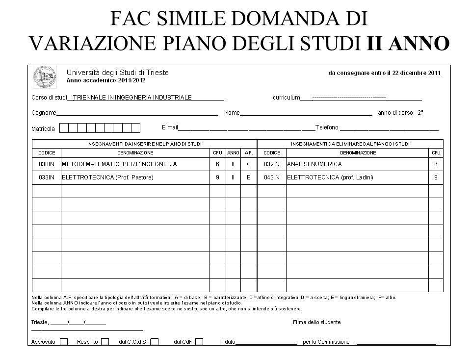 FAC SIMILE DOMANDA DI VARIAZIONE PIANO DEGLI STUDI II ANNO