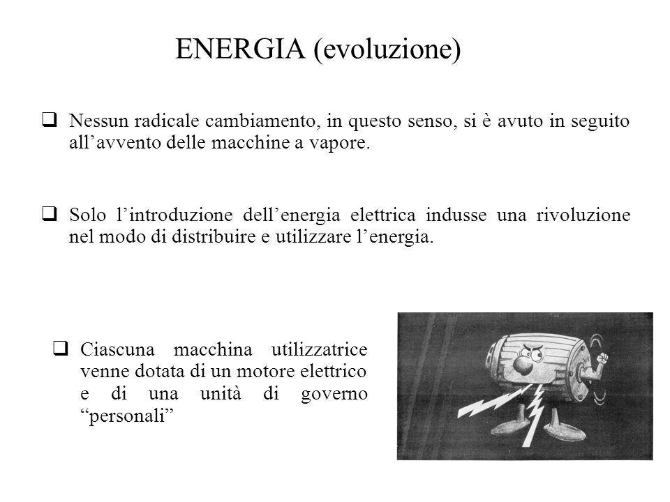 ENERGIA (evoluzione) Nessun radicale cambiamento, in questo senso, si è avuto in seguito all'avvento delle macchine a vapore.