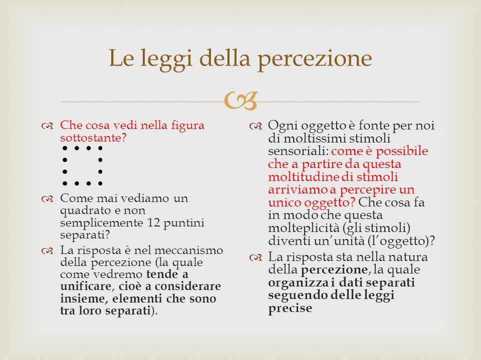 Le leggi della percezione