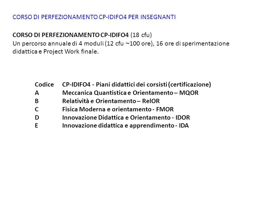 CORSO DI PERFEZIONAMENTO CP-IDIFO4 PER INSEGNANTI