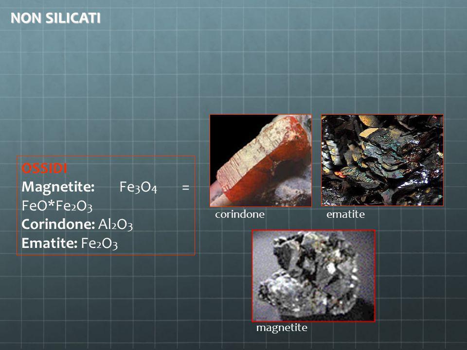 Magnetite: Fe3O4 = FeO*Fe2O3 Corindone: Al2O3 Ematite: Fe2O3